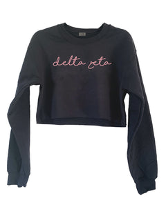 [LTB Customs] Embroidered Script Sorority Crewneck Sweatshirt Cropped
