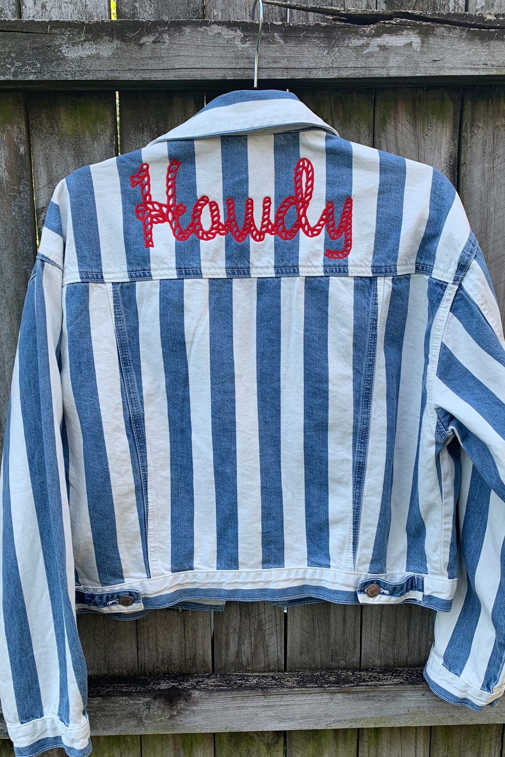 Howdy Rope Striped Denim Jacket Cropped Medium