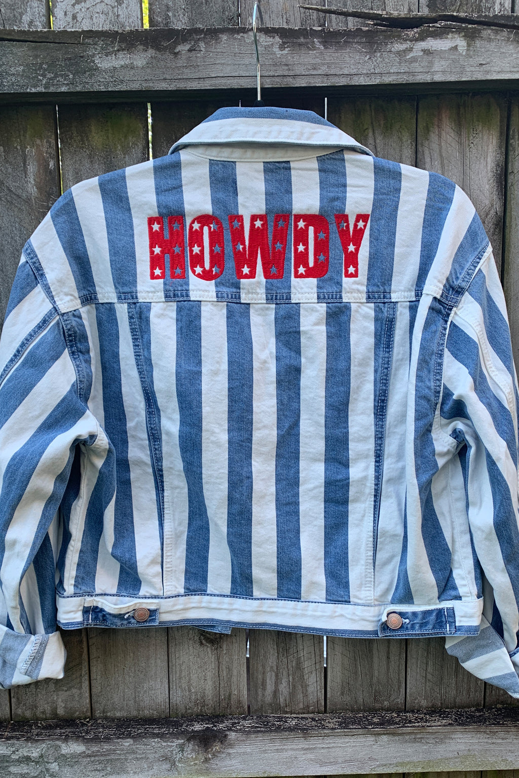 Howdy Stars Striped Denim Jacket Cropped Small