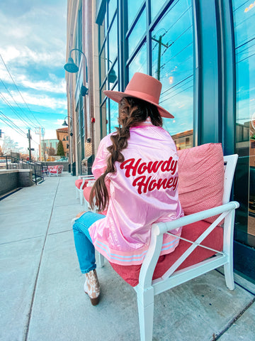 Howdy Honey One of a Kind Satin Bomber Pink/Red Small