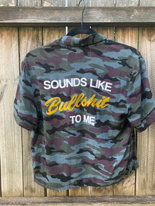 Bullshit Button-down Cropped Camo Shirt Small
