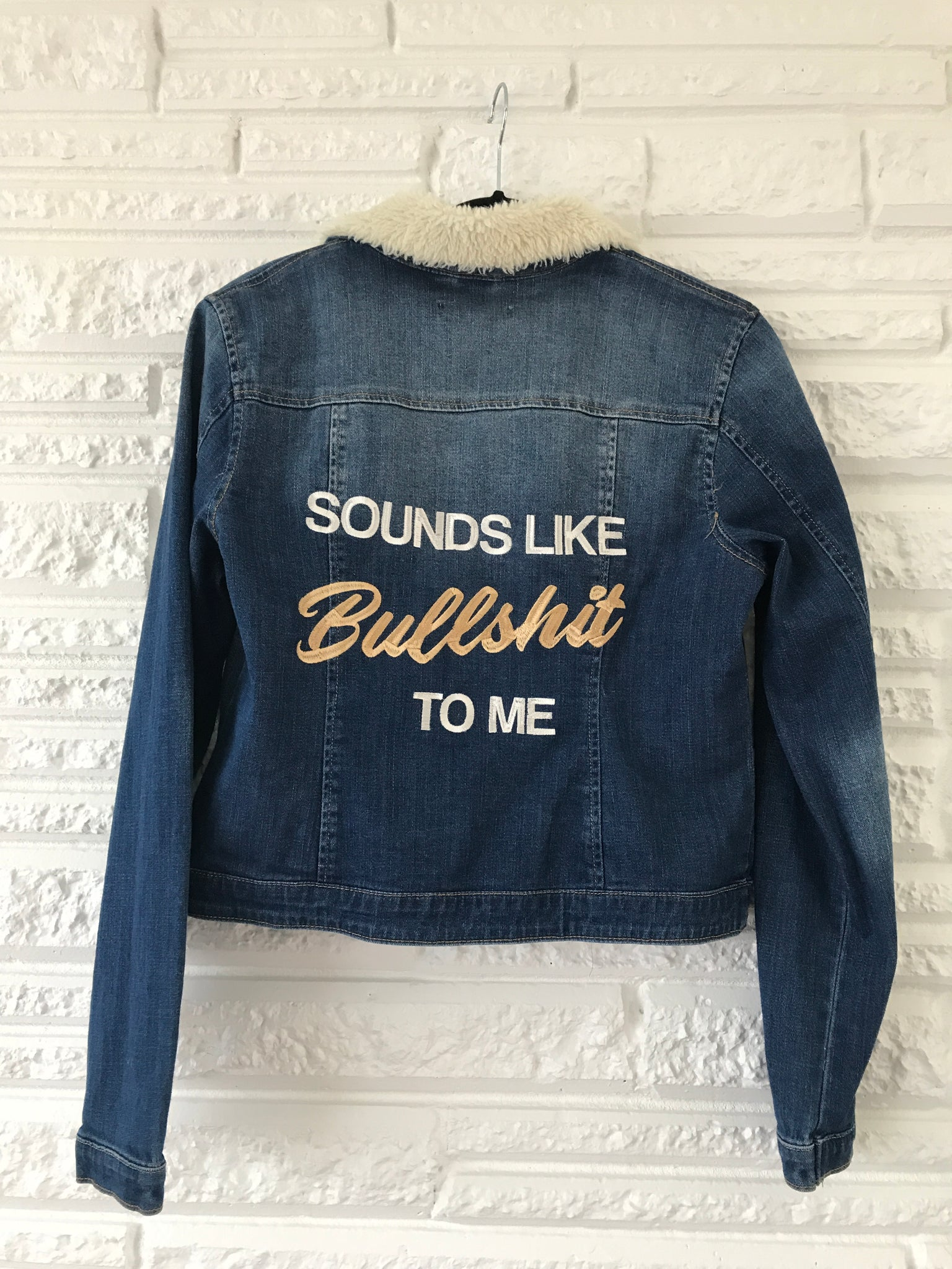 Bullshit Jacket Denim/Sherpa Collar Size Large