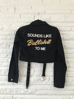 Bullshit Jacket Cropped Belted Black Denim Size Small