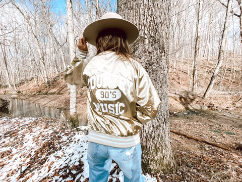 90's Country Gold Bomber Jacket