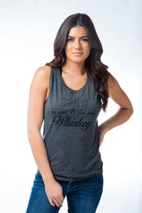 Straight Up Whiskey Muscle Tank Gray