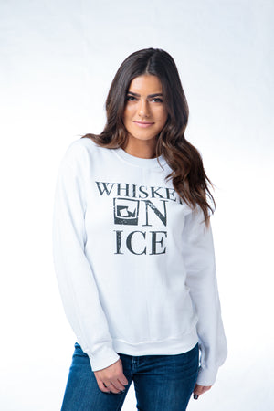 Whiskey on Ice Crewneck Sweatshirt White