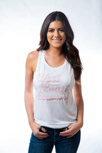 West Coast Cowgirl Muscle Tank White