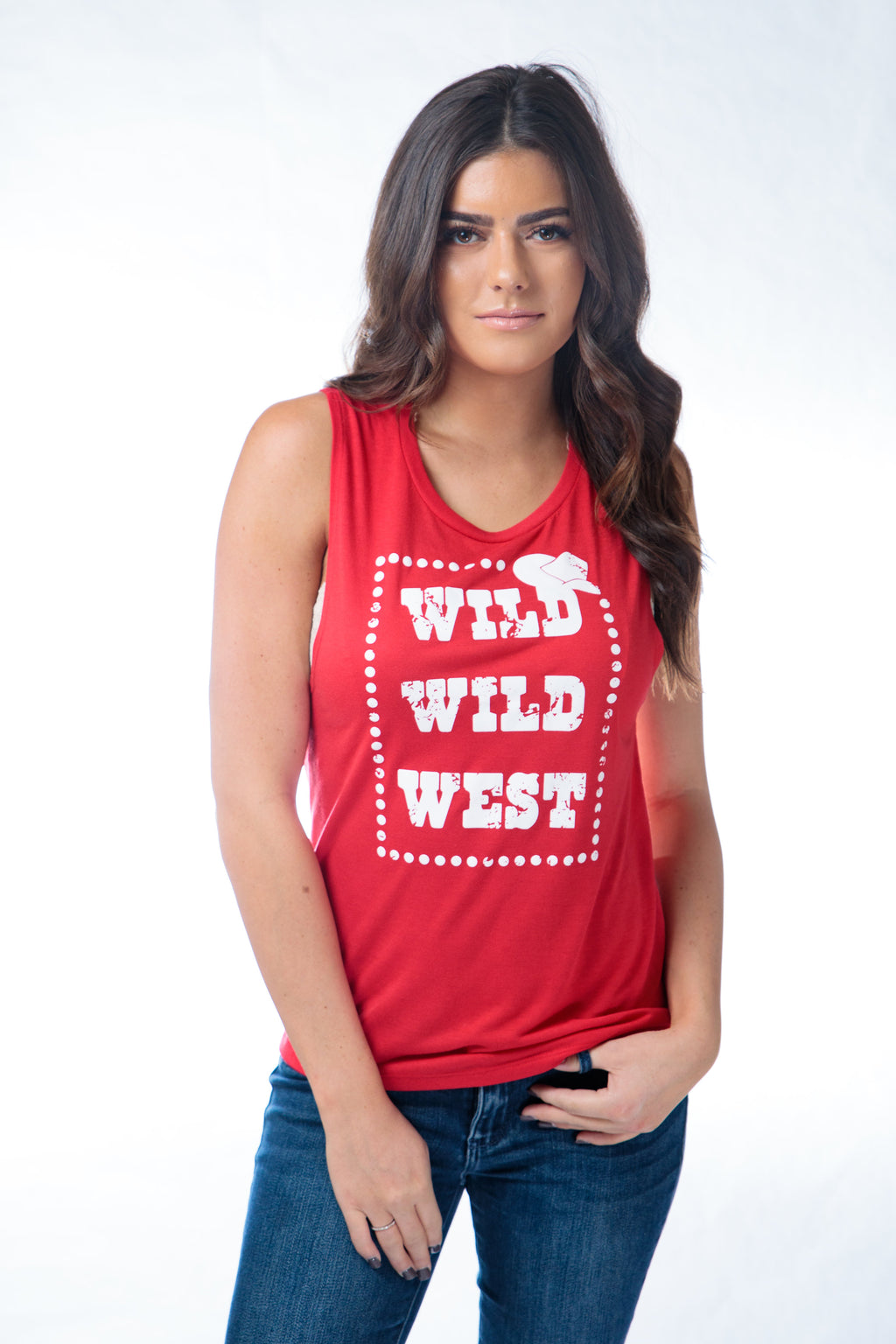Wild Wild West Muscle Tank Red