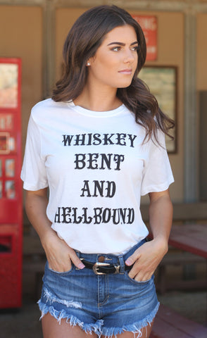 [SALE] Whiskey Bent and Hellbound Tee White