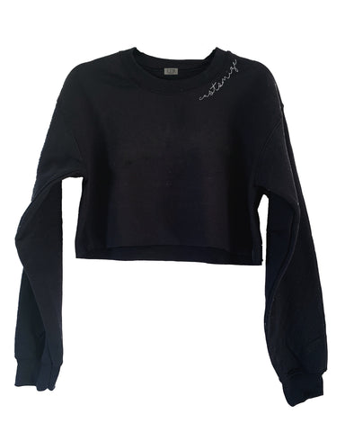 [LTB Customs] Embroidered Collar Crewneck Sweatshirt Black Cropped