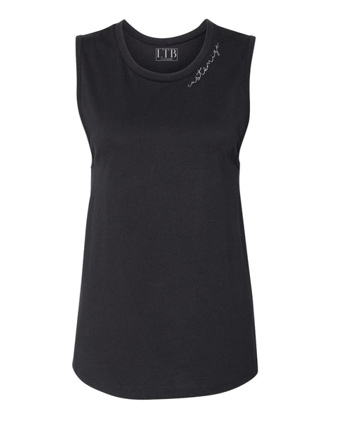 [LTB Customs] Embroidered Collar Tank Black