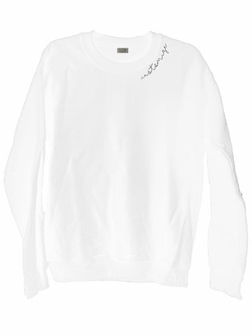 [LTB Customs] Embroidered Collar Crewneck Sweatshirt White