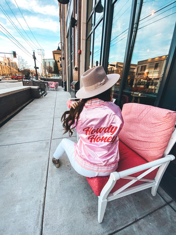 Howdy Honey One of a Kind Satin Bomber Pink/Dark Pink Small
