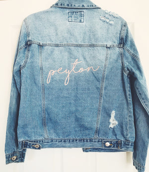 Custom Request Name in Script Embroidered Denim Jacket