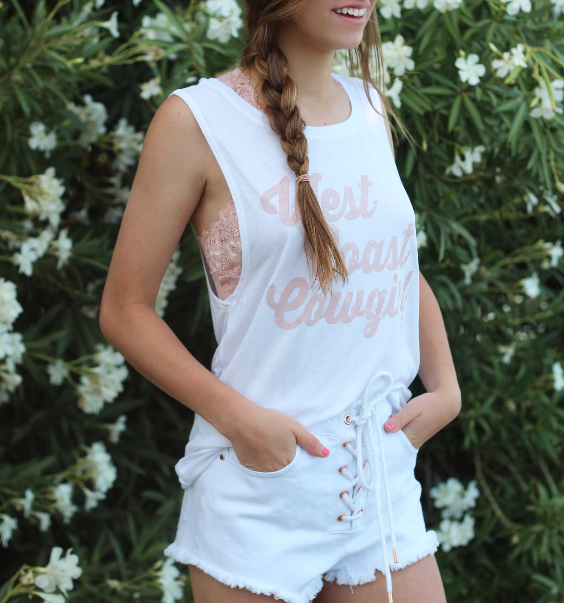Z West Coast Cowgirl Muscle Tank White