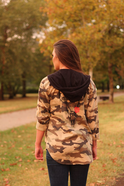 Skull Camo Red Rose Jacket with Hood Women's Medium