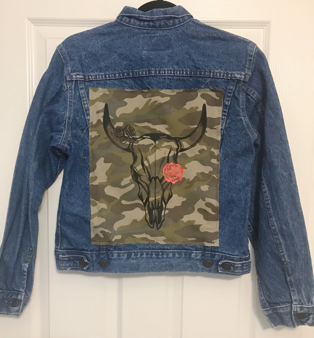 Skull Red Rose Denim Jacket Women's Small