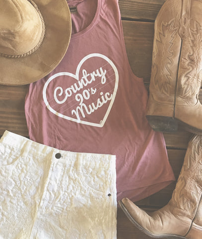 90s Country Tank Mauve