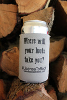 License to Boot Koozie Silver