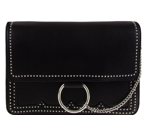 BTQ Stud Ring Bag Clutch Black