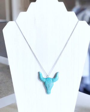 Turquoise Cattle Skull Necklace 18""