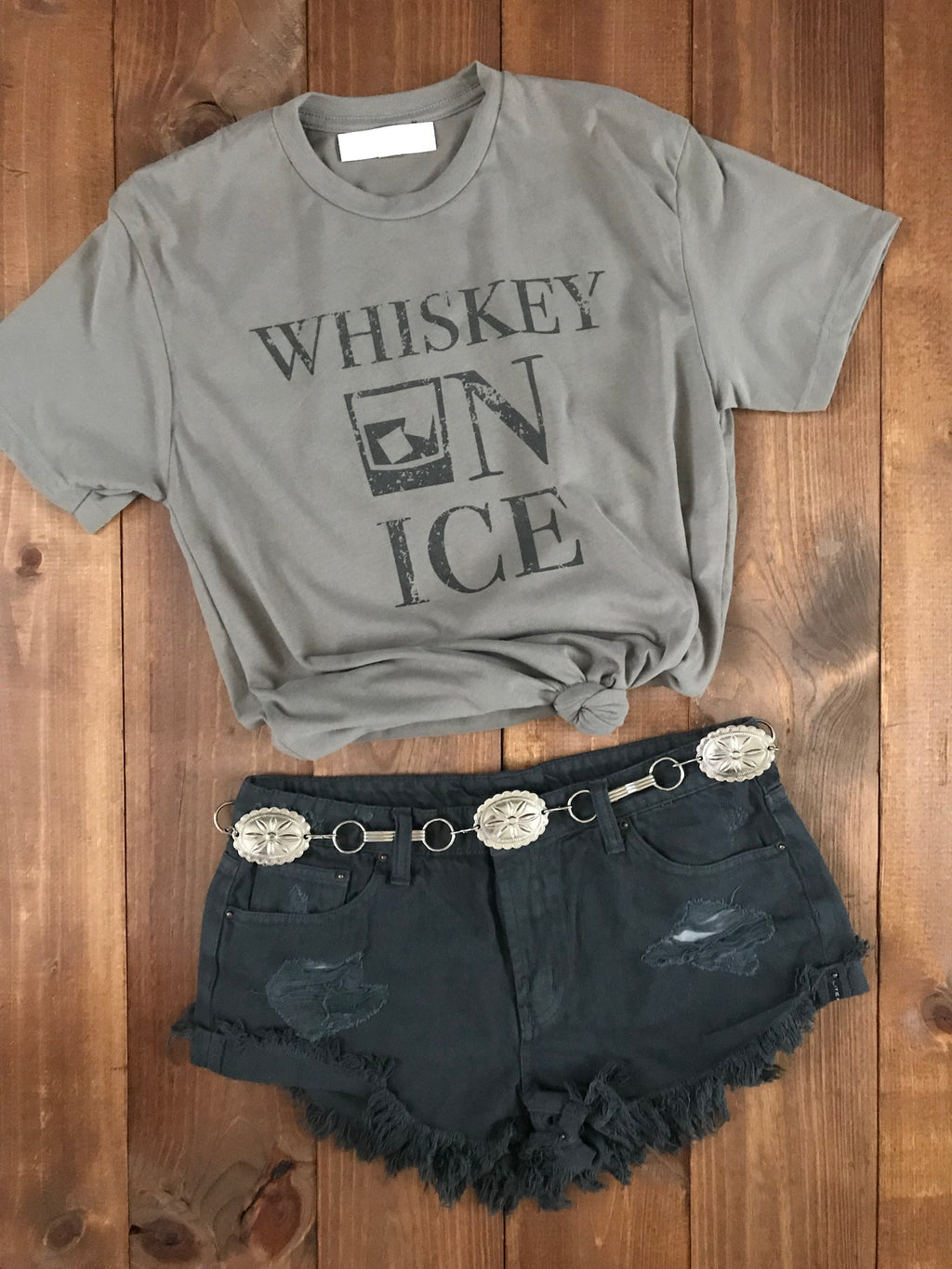 Whiskey On Ice Tee Taupe