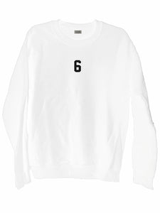 [LTB Customs] Embroidered Jersey Number Crewneck Sweatshirt White