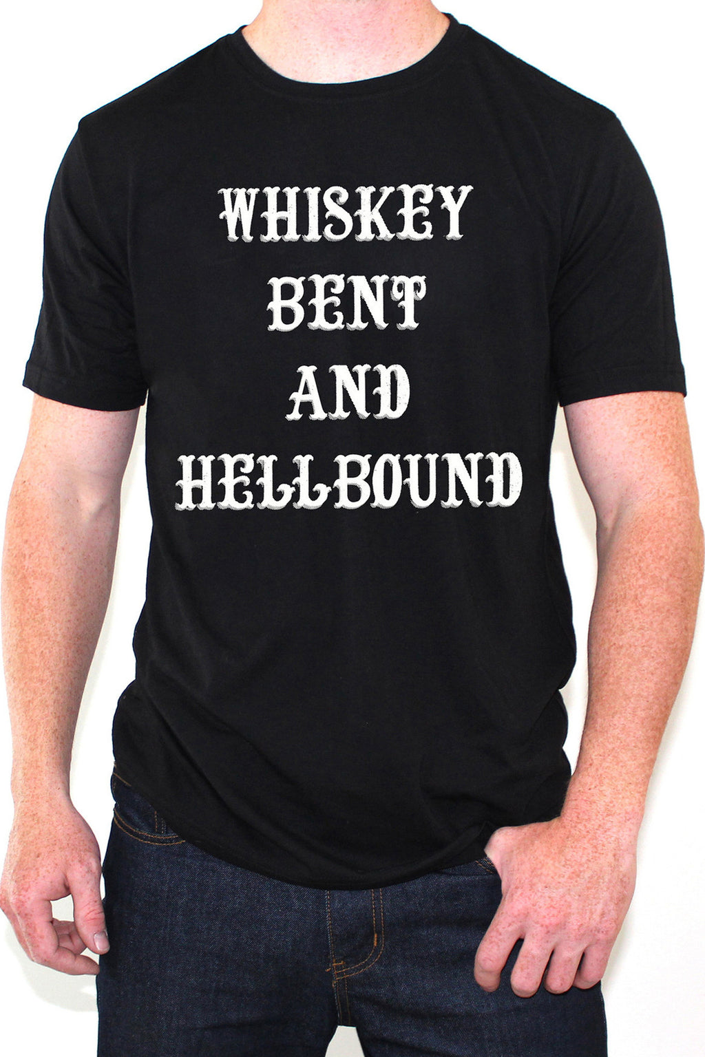 Whiskey Bent and Hellbound Black and White Tee