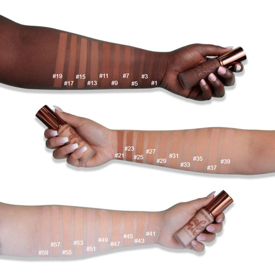 Arm Swatch Full Range of Cake Mix Foundation | Beauty Bakerie Cosmetics Brand