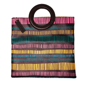 Multi Striped Ring Clutch + Tote Purse