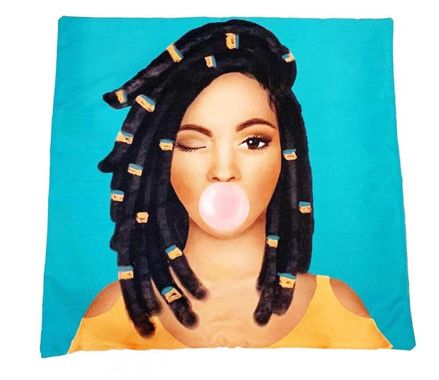 Loc'd Brown Sugar Girl Throw Pillow Cover - Izzy & Liv - pillow