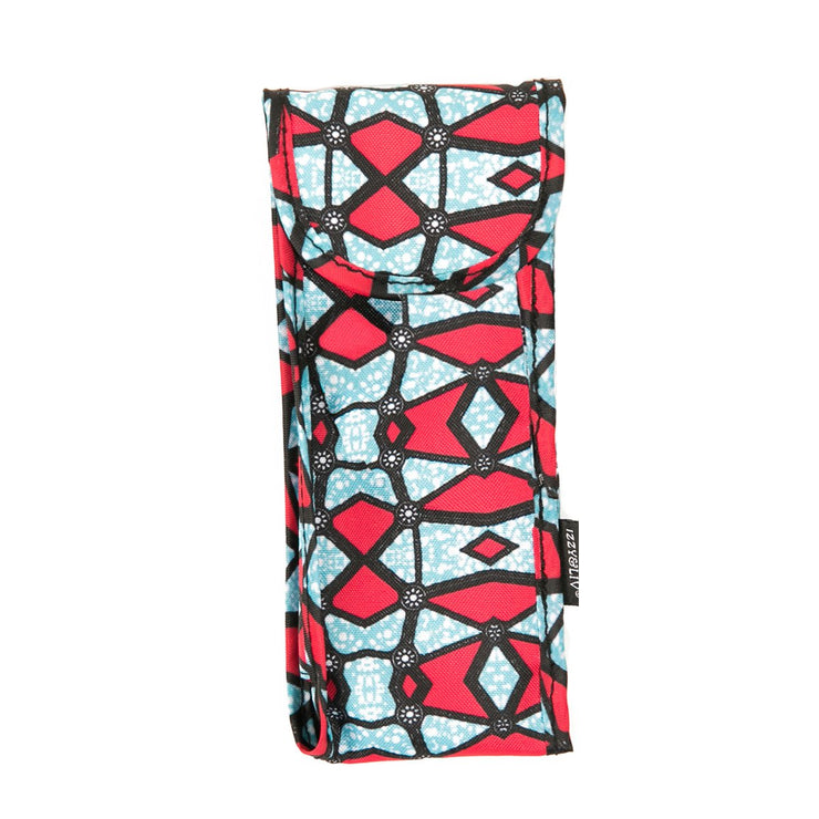 Red/Teal Ankara Print Fabric Sunglasses Case