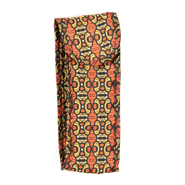 Coral/Yellow Ankara Print Fabric Sunglasses Case