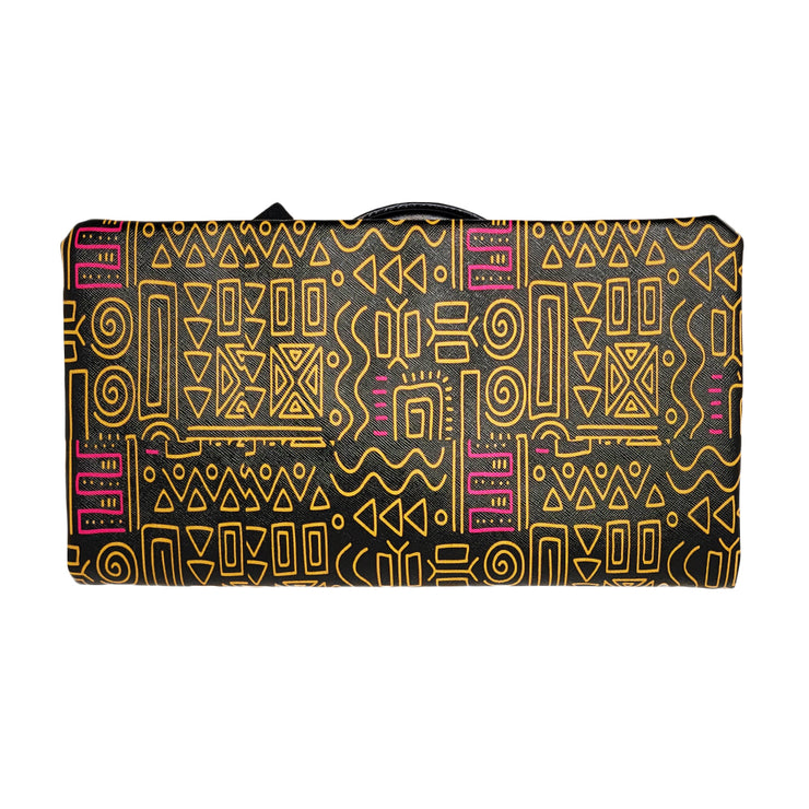 Black/Gold Tribal Ring Clutch + Tote Purse