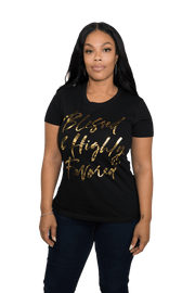 Blessed & Highly Favored Metallic Print Tee - Izzy & Liv - tank top