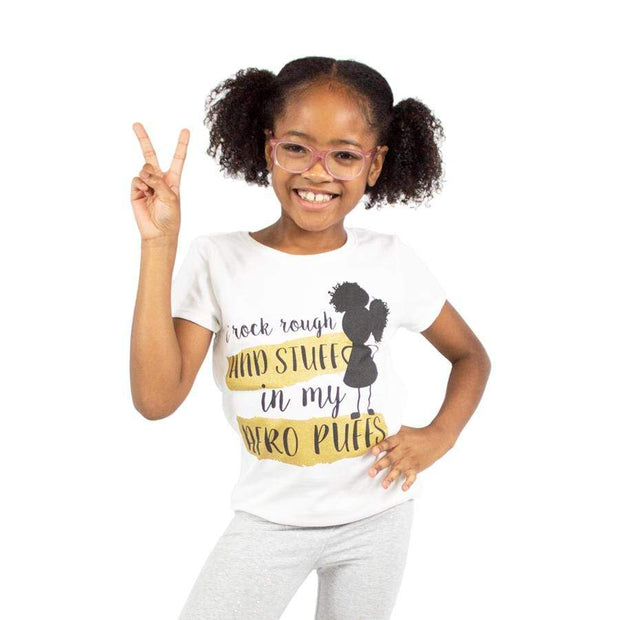 I Rock Rough & Stuff Afro Puffs Girls Tee - Izzy & Liv - kid tee