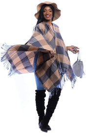 Plaid & Blue Poncho