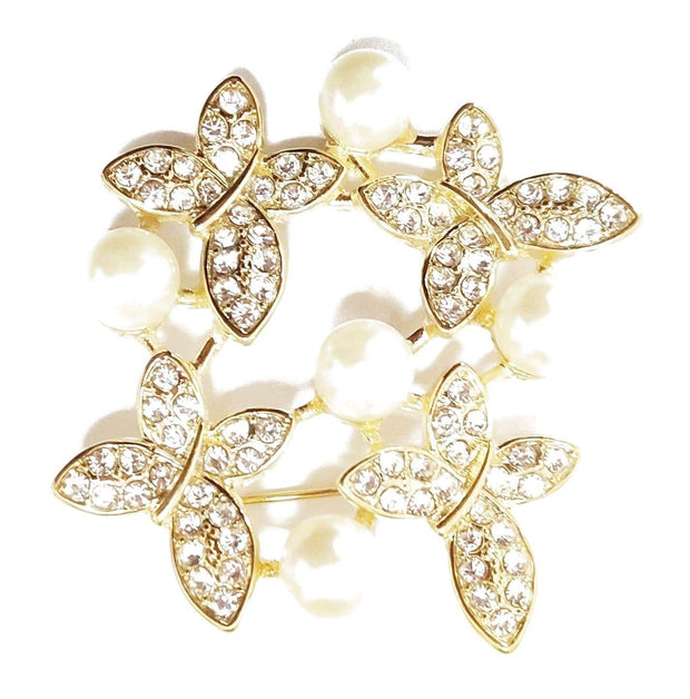 Butterflies & Pearls Brooch
