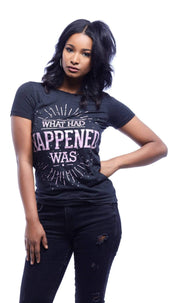 What Had Happened Was Metallic Print T-Shirt