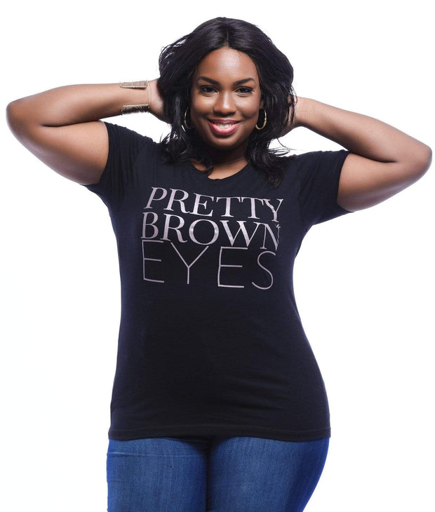 Pretty Brown Eyes Pink Metalic  T-Shirt - Izzy & Liv - graphic tee