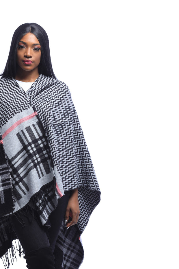Grey & Pink Plaid Poncho