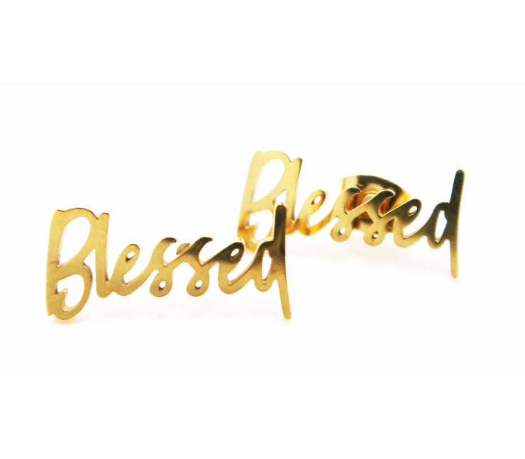 """Blessed"" Stud Earrings (18k gold-plated)"