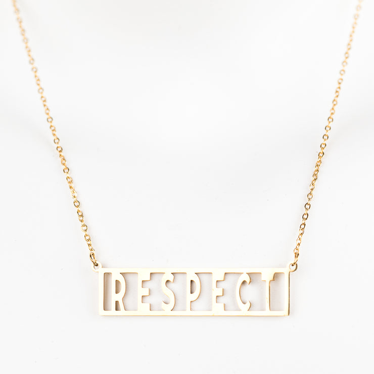 """Respect""  Frame Block Adjustable Necklace (18k gold plated)"