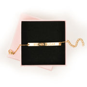 """Brown Sugar"" Adjustable Bar Bracelet (18k gold plated)"