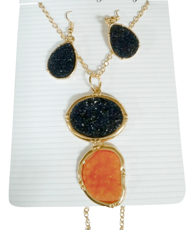 Druzy Earring + Necklace Set
