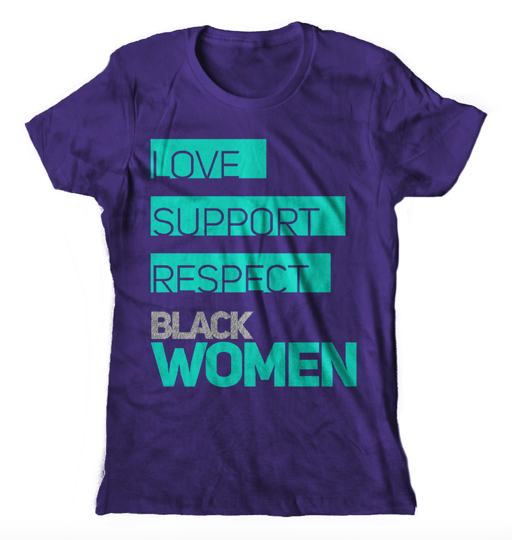 Love Support Black Women T-Shirt (Purple) - Izzy & Liv - graphic tee