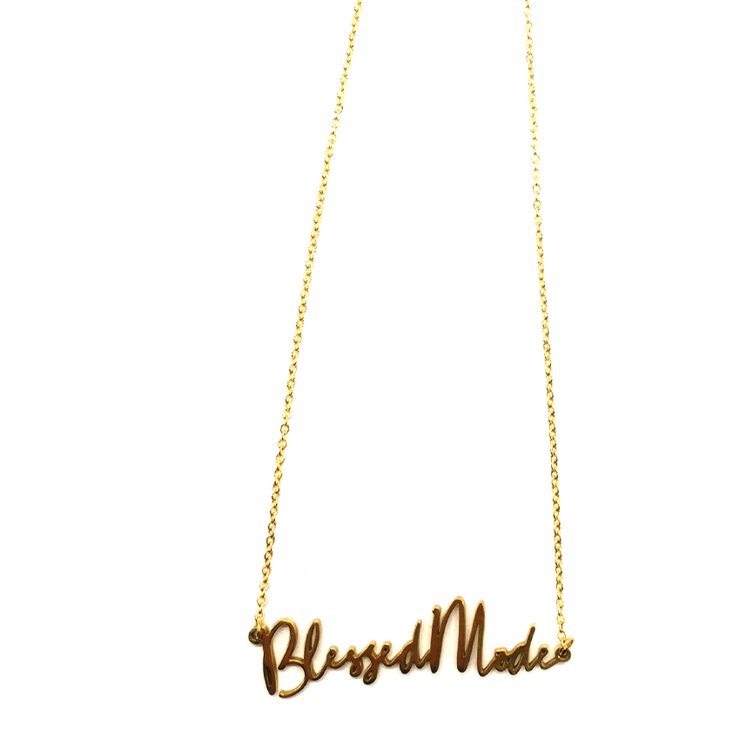 """Blessed Mode"" Script Necklace (18k gold-plated)"