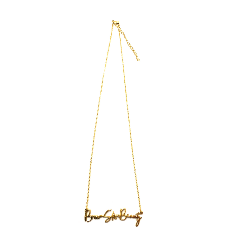 """Brown Skin Beauty"" Script Necklace (18k gold-plated)"
