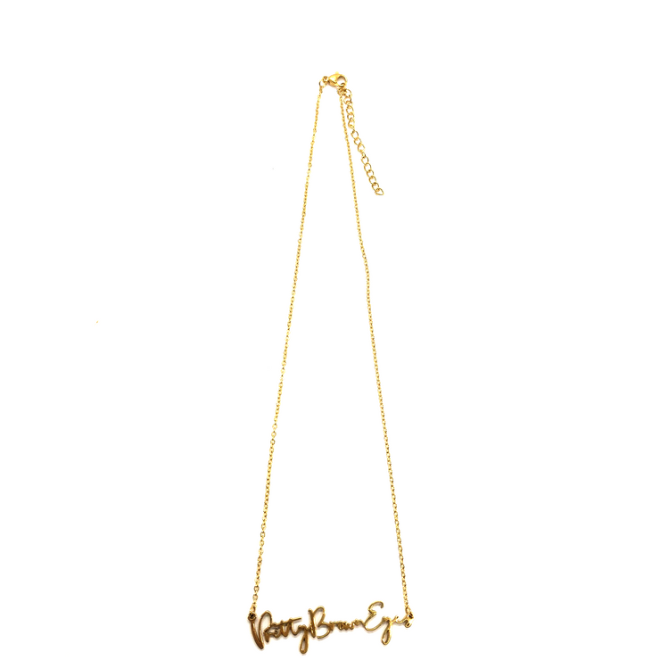 """Pretty Brown Eyes"" Script Necklace (18k gold plated)"
