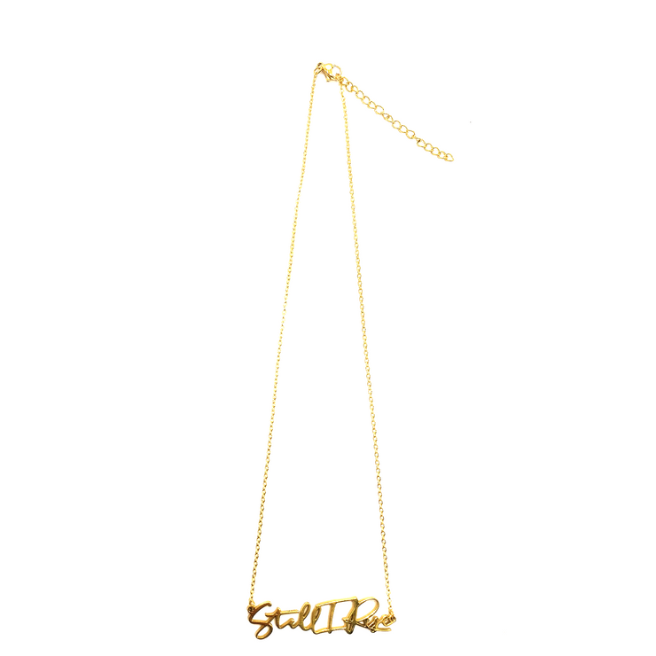 """Still I Rise"" Script Necklace (18k gold-plated)"